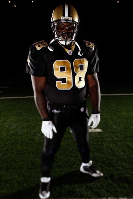 METAIRIE, LA - JANUARY 13:  Defensive Tackle Sedrick Ellis #98 of the New Orleans Saints poses for a photo at the New Orleans Saints training facility in Metairie, Louisiana.  (Photo by Chris Graythen/Getty Images)
