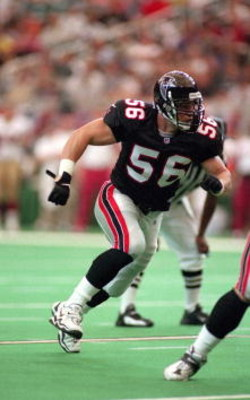 3 Sep 2000:  Keith Brooking #56 of the Atlanta Falcons rushes the line during the game against the San Francisco 49ers at the Georgia Dome in Atlanta, Georgia. The Falcons defeated the 49ers 36-28.Mandatory Credit: Scott Halleran  /Allsport