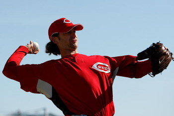 SARASOTA, FL - FEBRUARY 18:  Bronson Arroyo #61 of the Cincinnati Reds works out during practice after Spring Training Photo day on February 18, 2009 at the Cincinnati Reds training facility in Sarasota, Florida.  (Photo by Chris Graythen/Getty Images)