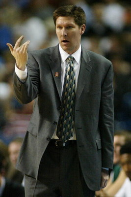 BUFFALO, NY - MARCH 15:  Head coach Brad Brownell of the Wright State Raiders gestures against the Pittsburgh Panthers during round one of the NCAA Men's Basketball Tournament at the HSBC Arena on March 15, 2007  in Buffalo, New York.  (Photo by Michael H