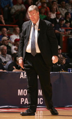 BOISE, ID - MARCH 17:  Head coach Stew Morrill of the Utah State Aggies looks on during the 2005 NCAA division 1 men's basketball championship tournament game against the Arizona Wildcats at Taco Bell Arena on March 17, 2005 in Boise, Idaho.   The Wildcat