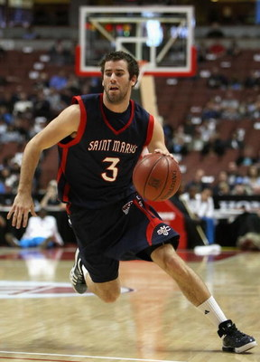 ANAHEIM, CA - DECEMBER 13:  Carlin Hughes #3 of the Saint Mary's Gaels drives with the ball against the San Diego State Aztecs in the John R. Wooden Classic at Honda Center on December 13, 2008 in Anaheim, California. The Gaels defeated the Aztecs 67-64.
