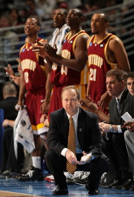 DENVER - MARCH 20:  Head coach Randy Peele of the Winthrop Eagles calls a play during the first round game of the East Regional against the Washington St. Cougars as part of the 2008 NCAA Men's Basketball Tournament at Pepsi Center on March 20, 2008 in De