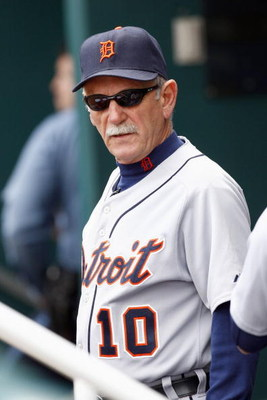 KANSAS CITY, MO - MAY 15:  Manager Jim Leyland #10 of the Detroit Tigers in the dugout prior to a game against the Kansas City Royals on May 15, 2008 at Kauffman Stadium in Kansas City, Missouri. (Photo by G. Newman Lowrance/Getty Images)