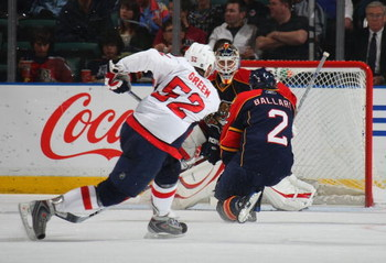 SUNRISE, FL - FEBRUARY 15: Mike Green #52 of the Washington Capitals takes the shot against the Florida Panthers on February 15, 2009 at the BankAtlantic Center in Sunrise, Florida. (Photo by Bruce Bennett/Getty Images)