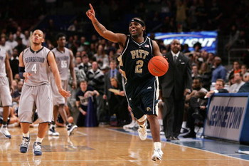 NEW YORK - MARCH 15:  Levance Fields #2 of the Pittsburgh Panthers celebrates after defeating the Georgetown Hoyas by the score of 74-65 to win the final of the 2008 Big East Men's Basketball Championship at Madison Square Garden on March 15, 2008 in New