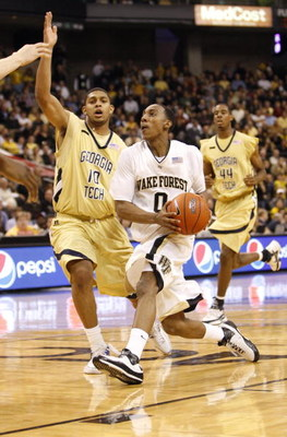 WINSTON-SALEM, NC - FEBRUARY 18:  Jeff Teague #0 of the Wake Forest Demon Deacons steps to the basket during their game against the Georgia Tech Yellow Jackets at Lawrence Joel Coliseum on February 18, 2009 in Winston-Salem, North Carolina. The Demon Deac