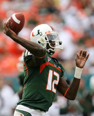 MIAMI - OCTOBER 25:  Quarterback Jacory Harris #12 of the Miami Hurricanes throws a pass while taking on the Wake Forest Demon Decons at Dolphin Stadium on October 25, 2008 in Miami, Florida. Miami defeated Wake Forest 16-10.  (Photo by Doug Benc/Getty Im