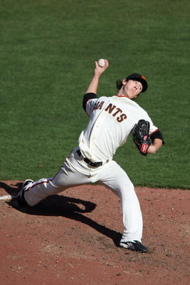 SAN FRANCISCO - JULY 3:  (FILE PHOTO) Tim Lincecum #55 of the San Francisco Giants pitches against of the Chicago Cubs during a Major League Baseball game on July 3, 2008 at AT&T Park in San Francisco, California. Lincecum was named the 2008 National Leag