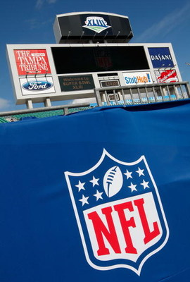 TAMPA, FL - FEBRUARY 01:  Offical Super Bowl XLIII and NFL logo signage is seen prior tothe Arizona Cardinals playing against the Pittsburgh Steelers inSuper Bowl XLIII on February 1, 2009 at Raymond James Stadium in Tampa, Florida.  (Photo by Al Bello/Ge