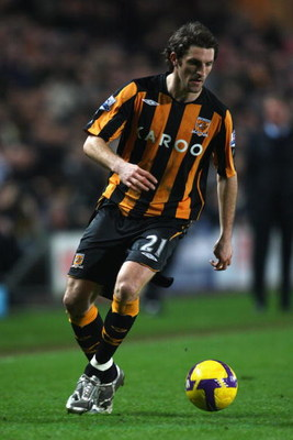 HULL, UNITED KINGDOM - FEBRUARY 23:   Sam Ricketts of Hull City in action during the Barclays Premier League match between Hull City and Tottenham Hotspur at The KC Stadium on February 23, 2009 in Hull, England.  (Photo by Mark Thompson/Getty Images)
