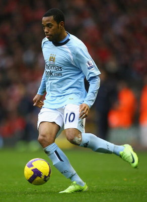 LIVERPOOL, UNITED KINGDOM - FEBRUARY 22:  Robinho of Manchester City in action during the Barclays Premier League match between Liverpool and Manchester City at Anfield on February 22, 2009 in Liverpool, England. (Photo by Alex Livesey/Getty Images)