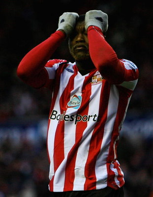 SUNDERLAND, UNITED KINGDOM - FEBRUARY 07:  Djibril Cisse of Sunderland looks on during the Barclays Premier League match between Sunderland and Stoke City at the Stadium of Light on February 7, 2009 in Sunderland, England.  (Photo by Matthew Lewis/Getty I
