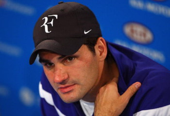 MELBOURNE, AUSTRALIA - FEBRUARY 01:  Roger Federer of Switzerland talks to the media at a press conference after his men's final match against Rafael Nadal of Spain during day fourteen of the 2009 Australian Open at Melbourne Park on  February 1, 2009 in