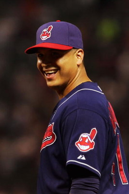 CLEVELAND - OCTOBER 16:  Victor Martinez #41 of the Cleveland Indians smiles before his team takes on the Boston Red Sox during Game Four of the American League Championship Series at Jacobs Field on October 16, 2007 in Cleveland, Ohio.  (Photo by Jim McI