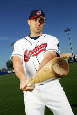 WINTER HAVEN, FL - MARCH 1:  Travis Hafner of the Cleveland Indians poses for a portrait during photo day at Chain of Lakes Park on March 1, 2005 in Winter Haven, Florida.  (Photo by Doug Pensinger/Getty Images)