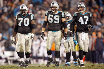 CHARLOTTE, NC - DECEMBER 14:  Jordan Gross #69 of the Carolina Panthers walks on the field during the game against the Denver Broncos at Bank of America Stadium on December 14, 2008 in Charlotte, North Carolina. (Photo by: Streeter Lecka/Getty Images)