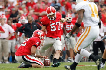 ATHENS, GA - OCTOBER 11:  Blair Walsh #57 of the Georgia Bulldogs kicks a field goal during the game against the Tennessee Volunteers at Sanford Stadium on October 11, 2008 in Athens, Georgia.  (Photo by Kevin C. Cox/Getty Images)