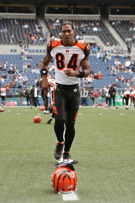 SEATTLE - SEPTEMBER 23:  T.J. Houshmandzadeh #84 of the Cincinnati Bengals warms up before the game against the Seattle Seahawks at Qwest Field on September 23, 2007 in Seattle, Washington. The Seahawks won 24-21. (Photo by Otto Greule Jr/Getty Images)