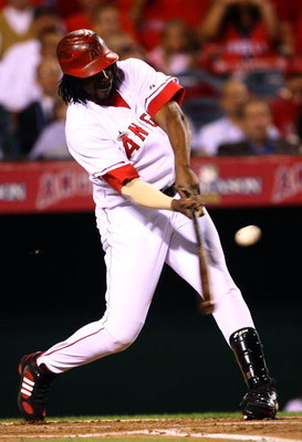 ANAHEIM, CA - OCTOBER 03:  Vladimir Guerrero #27 of the Los Angeles Angels of Anaheim at bat against the Boston Red Sox in game two of the American League Division Series at Angel Stadium on October 3, 2008 in Anaheim, California.  (Photo by Jeff Gross/Ge