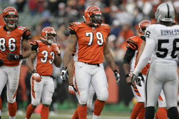 CINCINNATI - DECEMBER 10:  Offensive guard Stacy Andrews #79 of the Cincinnati Bengals walks to the line of scrimmage against the Oakland Raiders on December 10, 2006 at Paul Brown Stadium in Cincinnati, Ohio. The Bengals defeated the Raiders 27-10. (Phot