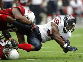 GLENDALE, AZ - AUGUST 18:  Running back Ahman Green #30 of the Houston Texans carries the ball against the Arizona Cardinals during their NFL preseason game at University of Phoenix Stadium August 18, 2007 in Glendale, Arizona.  (Photo by Stephen Dunn/Get