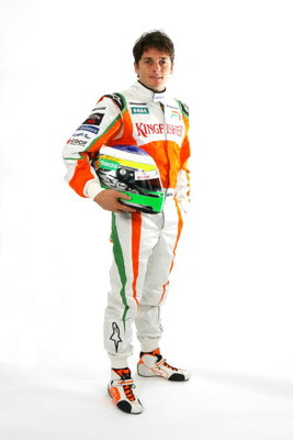 NORTHAMPTON, UNITED KINGDOM - FEBRUARY 24: In this handout image supplied by Force India F1, Giancarlo Fisichella of Italy and Force India attends the launch of the new Force India F1 VJM02 car at Silverstone on February 24, 2009 in Silverstone, England.