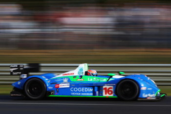 LE MANS, FRANCE - JUNE 14:  The Pescarolo Sport car of Emmanuel Collard, Jean-Christophe Boullion and Romain Dumas of France drives during the 76th running of the Le Mans 24 Hour race at the Circuit des 24 Heures du Mans on June 14, 2008 in Le Mans, Franc