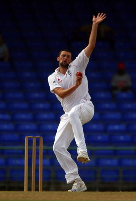 ANGUILLA, SAINT KITTS AND NEVIS - JANUARY 30:  Steve Harmison of England bowls during Day Two of the warm up match against The West Indies 'A'  XI played at The Warner Park Cricket Stadium on January 30, 2009 in St.Kitts and Nevis  (Photo by Julian Herber