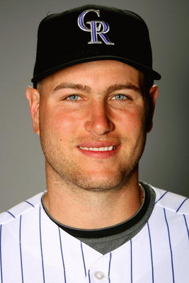TUCSON, AZ - FEBRUARY 22: Chris Iannetta of the Colorado Rockies poses during photo day at the Rockies spring training complex on February 22, 2009 in Tuscon, Arizona.  (Photo by Matthew Stockman/Getty Images)