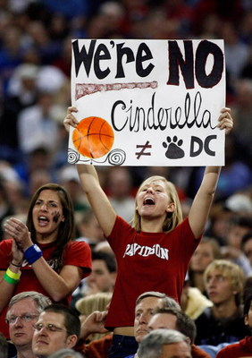 DETROIT - MARCH 30:  Fans of the Davidson Wildcats support their team against the Kansas Jayhawks during the Midwest Regional Final of the 2008 NCAA Division I Men's Basketball Tournament at Ford Field on March 30, 2008 in Detroit, Michigan  (Photo by Gre