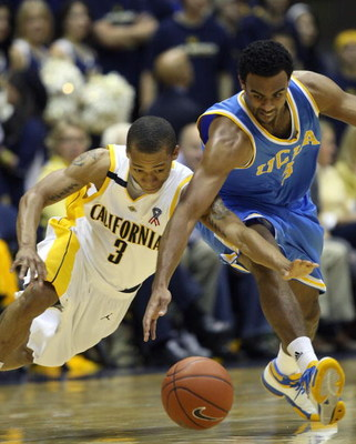 BERKELEY, CA - FEBRUARY 28: Josh Shipp #3 of the UCLA Bruins battles for the ball with Jerome Randle #3 of the California Golden Bears during an NCAA Pac-10 basketball game on February 28, 2009 at Haas Pavillion in Berkeley, California.  (Photo by Jed Jac