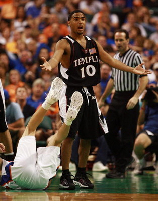 SUNRISE, FL - DECEMBER 29:  Luis Guzman #10 of the Temple Owls reacts after being called for a foul while taking on the Florida Gators in the Orange Bowl Basketball Classic at Bank Atlantic Center on December 29, 2007 in Sunrise, Florida. Florida defeated