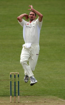 BRISTOL, UNITED KINGDOM - MAY 01:  Glamorgan bowler Jason Gillespie bowls during day Three of the Liverpool and Victoria County Championship Division Two Game between Gloucestershire and Glamorgan at The County Ground on May 1, 2008 in Bristol, England.