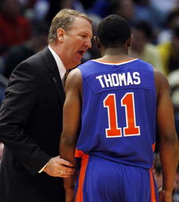 BIRMINGHAM, AL - MARCH 21:  Coach Greg Graham talks with Anthony Thomas #11 of the boise State Broncos during the first round of the East Regional as part of the 2008 NCAA Men's Basketball Tournament at the Birmingham-Jefferson Civic Center on March 21, 2
