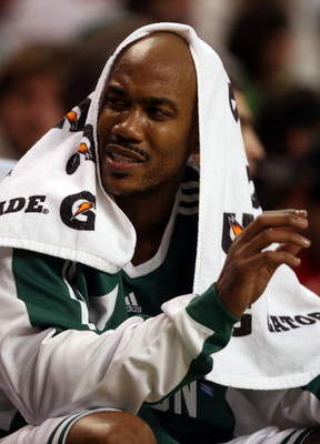 BOSTON - FEBRUARY 27:  Stephon Marbury #8 of the Boston Celtics sits on the bench after he was pulled from the game in the second quarter against the Indiana Pacers on February 27, 2009 at TD Banknorth Garden in Boston, Massachusetts. NOTE TO USER: User e