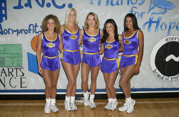 SANTA MONICA - OCTOBER 26:  Los Angeles Laker Girls attend the Annenberg Foundation Youth I.N.C. Net Gain 2003 Celebrity Basketball Game at Crossroads High School on October 26, 2003 in Santa Monica, California.  (Photo by Frederick M. Brown/Getty Images)