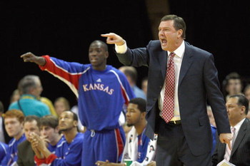 COLUMBIA, MISSOURI - FEBRUARY 9:  Head coach Bill Self  of the the Kansas Jayhawks yells against the Missouri Tigers during the game on February 9, 2009 at Mizzou Arena in Columbia, Missouri. (Photo by: Jamie Squire/Getty Images)