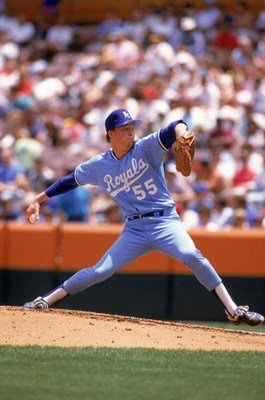 1989: Kevin Appier #55 of the Kansas City Royals delivers a pitch during a game in the 1989 MLB season.  (Photo by Tim DeFrisco/Getty Images)