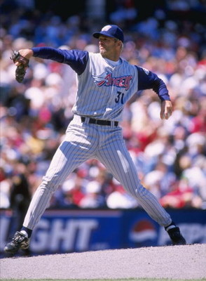 12 Apr 1998:  Pitcher Chuck Finley of the Anaheim Angels in action during a game against the Cleveland Indians at Jacobs Field in Cleveland, Ohio.  The Angels won the game, 12-1. Mandatory Credit: Rick Stewart  /Allsport