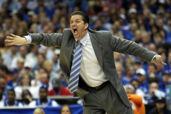 SAN ANTONIO - APRIL 05:  Head coach John Calipari of the Memphis Tigers reacts while taking on the UCLA Bruins during the National Semifinal game of the NCAA Men's Final Four at the Alamodome on April 5, 2008 in San Antonio, Texas.  (Photo by Jed Jacobsoh