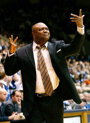 DURHAM, NC - MARCH 03:  Head coach Leonard Hamilton of the Florida State Seminoles argues a call with an official during the game against the Duke Blue Devils on March 3, 2009 at Cameron Indoor Stadium in Durham, North Carolina.  (Photo by Kevin C. Cox/Ge