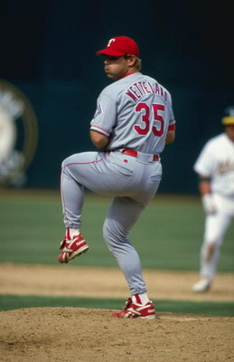 18 Apr 1999:  Pitcher John Wetteland #35 of the Texas Rangers winds up for the pitchl during the game against the Oakland Athletics at the Oakland Coliseum in Oakland, California. The Rangers defeated the Athletics 6-2. Mandatory Credit: Jed Jacobsohn  /A