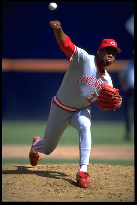 6 OCT 1991:  JOSE RIJO, PITCHER FOR THE CINCINNATI REDS, RELEASES A PITCH DURING THEIR GAME AGAINST THE SAN DIEGO PADRES AT JACK MURPHY STADIUM IN SAN DIEGO, CALIFORNIA.  MANDATORY CREDIT: STEPHEN DUNN/ALLSPORT