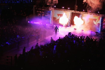 SYDNEY, AUSTRALIA - JUNE 15. The Undertaker enters the arena during WWE Smackdown at Acer Arena on June 15, 2008 in Sydney, Australia.  (Photo by Gaye Gerard/Getty Images)