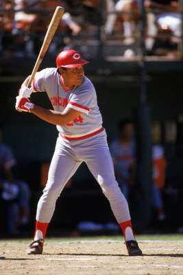 1985:  Tony Perez of the Cincinnati Reds stands ready at bat during a MLB game in the 1985 season. ( Photo by: Stephen Dunn/Getty Images)