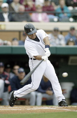 LAKELAND, FL - MARCH 03: Ivan Rodriguez #7 of the Detroit Tigers swings at the pitch during a Spring Training game against the Cleveland Indians on March 3,2007 at Joker Marchant Stadium in Lakeland, Florida. (Photo by Rick Stewart/Getty Images)
