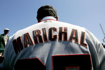 SAN FRANCISCO - APRIL 03:  Juan Marichal is honored during a pregame ceremony honoring former Giants All-Stars and current Hall of Famers before the game against the San Diego Padres on the Opening Day of Major League Baseball on April 3, 2007 at AT&T Par