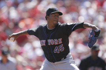 CINCINNATI - SEPTEMBER 3:  Pitcher Pedro Martinez #45 of the New York Mets pitches against the Cincinnati Reds on September 3, 2007 at Great American Ball Park in Cincinnati, Ohio.  Pedro Martinez recorded his 3000th strikeout during this game. (Photo by