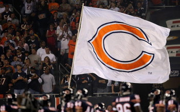 CHICAGO - SEPTEMBER 23:  A giant flag for the Chicago Bears is seen during pregame festivities against the Dallas Cowboys at Soldier Field on September 23, 2007 in Chicago, Illinois.  (Photo by Jonathan Daniel/Getty Images)